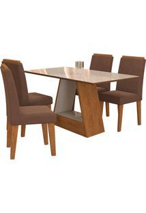 Conjunto De Mesa Com 4 Cadeiras Para Sala De Jantar 130X80 Alana/Milena-Cimol - Savana / Off White / Chocolate