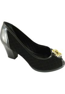 Peep Toe Sapato Web Confort Matelassê Feminino - Feminino-Preto
