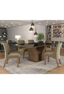 Conjunto Sala De Jantar Mesa Tampo Mdf/Vidro 6 Cadeiras Leblon Tik Plus Siena Móveis Castanho/Tampo Preto