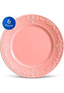 Conjunto Pratos Rasos Acanthus - 6 Peças - Porto Brasil - Rosa