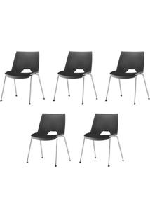 Kit 5 Cadeiras Strike Assento Preto Base Cromada - 57684 - Sun House