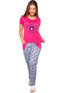 Pijama Bella Fiore Modas Longo Alice Pink - Tricae