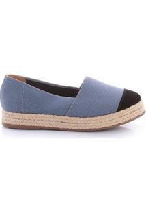 Alpargata Paula Brazil Tecido Jeans Feminina - Feminino-Azul