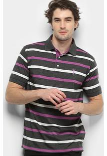 Camisa Polo Aleatory Listrada Fio Tinto Masculina - Masculino-Cinza+Pink