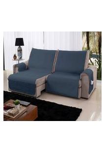 Xále Protetor Sofá Retrátil Reclinável Assento 2,20M Azul Cor 789