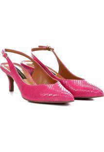 Scarpin Couro Jorge Bischoff Salto Baixo Croco - Feminino-Pink