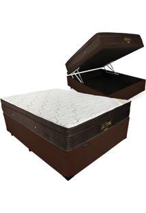 Cama Box Com Baú Casal + Colchão De Molas Ensacadas - Ortobom - Gold Personal 138X188X70Cm Marrom