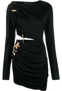 Versace Brooch Pin Detail Dress - Preto