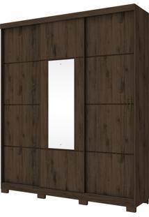Guarda Roupa Henn Silver 03 Portas Deslizantes 1 Espelho Café