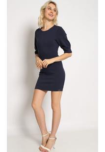 Vestido Com Recortes- Azul Marinho- Colccicolcci