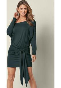Vestido Curto Com Amarração Verde Escuro