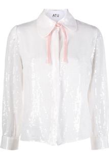 Atu Body Couture Camisa Com Paetês - Branco