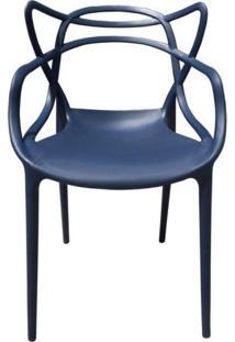 Cadeira Com Encosto E Braços Aviv Fratini Móveis Azul Marinho