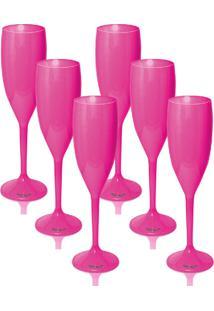 Kit 8 Taças Champagne 170Ml Rosa Acrílico