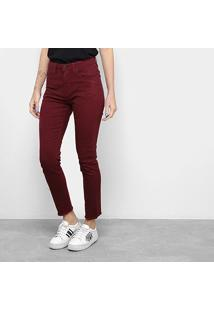 Calça Slim Calvin Klein Color Five Pockets High Rise Feminina - Feminino-Bordô
