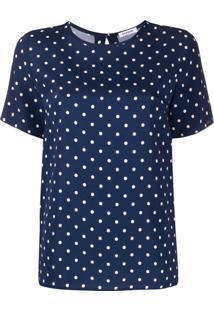 P.A.R.O.S.H. Blusa Decote Careca Com Poás - Azul