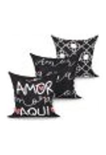 Jogo Capa Almofada Decorativa Para Quarto Preta Amor Gera Amor Kit Com 3 Unidades 45Cm X 45Cm Com Zíper