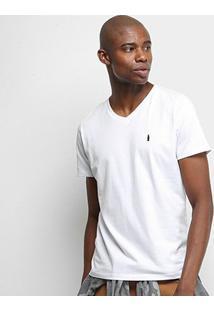 Camiseta Coca-Cola Gola V Masculina - Masculino-Branco