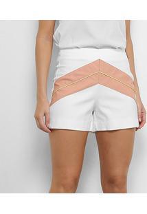 Shorts Acostamento Recorte Geométrico Cintura Alta Feminino - Feminino-Rosa Claro