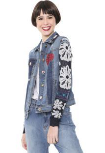 Jaqueta Jeans Desigual Tricot Bordada Azul