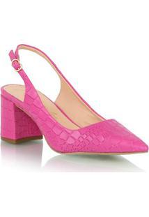 Scarpin Em Couro Croco Rosa Pink