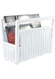 Porta Revisteiro Cesto Jornais Livros Fibra Sintética 34X30X20 - Branco