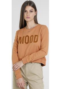 """Blusão Feminino Cropped """"Mood"""" Em Moletom Caramelo"""