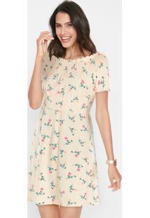 Vestido Ombro A Ombro Franzido Floral Bege