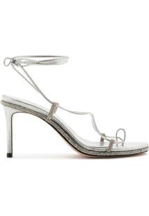 Sandália Salto Lace-Up Glam Prata | Schutz