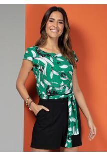 Blusa Com Zíper Nas Costas Floral Verde