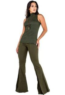 Blusa Latifundio Gola Alta Latifundio Feminina - Feminino-Verde Militar