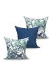 Conjunto De Capas De Almofadas Com 3 Peças Vivace Albany Azul E Verde 45X45 Cm