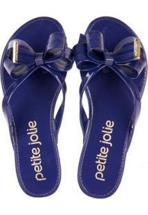 36bb5382ad Chinelo Petite Jolie Com Laço Navy Feminino - Feminino-Azul