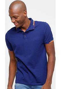 fa14cae2b Camisa Polo Calvin Klein Friso Duplo Logo Relevo Masculina - Masculino-Azul
