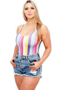 Body Suplex Regata Collant Listrado Partiucompras Feminino - Feminino-Azul