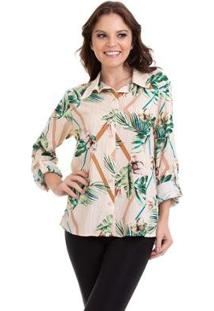 Camisa Viscose Manga Longa Martingale Feminina - Feminino
