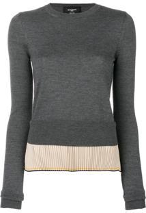 Rochas Suéter Com Detalhe Plissado - Cinza