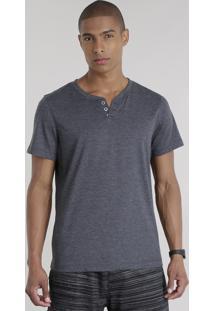 Camiseta Básica Com Botões Cinza Mescla Escuro
