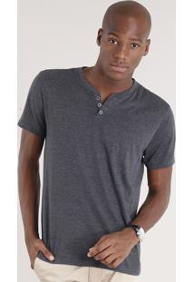 Camiseta Masculina Básica Com Botões Manga Curta Cinza Mescla Escuro