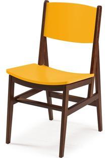 Cadeira Dumon Cacau E Amarelo