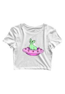 Blusa Blusinha Feminina Cropped Tshirt Camiseta Cat Nave Branco