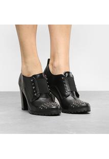 Ankle Boot Cravo & Canela Salto Alto Tratorada Com Rebite - Feminino-Preto