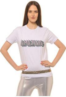 Camiseta Joss Estampada Amazing Feminina - Feminino-Branco