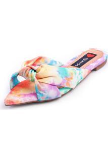 Sandália Love Shoes Rasteira Bico Folha Nó Tie-Dye Rosa - Kanui
