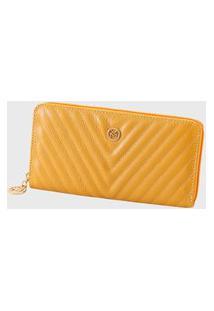 Carteira Couro Mariart Matelassê 563Mrt Amarelo Gold