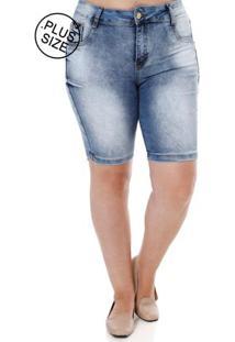 Bermuda Jeans Plus Size Feminina Amuage Azul