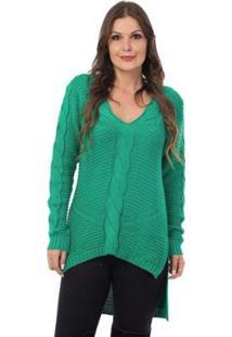 Blusa Pink Tricot Mullet Detalhes Trançados Feminino - Feminino-Verde