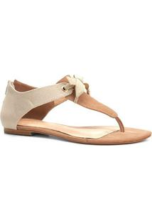 Rasteira Couro Shoestock Lona - Feminino-Nude