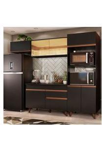 Cozinha Completa Madesa Reims 260001 Com Armário E Balcão Preto Cor:Preto