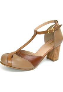 Sandália Retrô Salto Grosso Touro Boots Feminina Whisky - Kanui